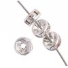 Rhinestone Rondelle (Flat Round) 6mm Crystal Aurora Borealis Silver (2nd. Quality Plating)